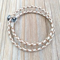 Wholesale Braided Chain Sterling - Authentic 925 Silver Champagne Braided Double-Leather Charm Bracelet Fits European Pandora Style Jewelry Charms Bead Handmade 590705CPL-D