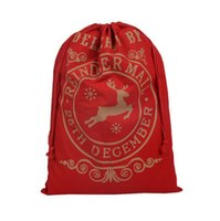 Wholesale Discounted Christmas Decorations - Discount Price Large Canvas Monogrammable Santa Claus Drawstring Bag With Reindeers, Monogramable Christmas Gifts Sack Bags DHL Free