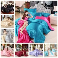 Wholesale Imitation Silk Bedding Set - muchun Brand Christmas Bedding Sets Imitation Silk Solid 4 pcs Comforter Duvet Cover Bed Sheet Jacquard Home Textiles