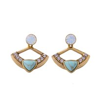 Triangle Crackled Turquoise Stone Inlay Bejeweled Opal Stone Declaração Back E Font Earring Stud Antique Gold Factory OEM ODM Atacado