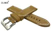 Wholesale thick leather belts - Genuine Leather Watchbands for PANERAI 24mm Mens 100% Manual Thick Khaki Watchband Straps Belt Stainless Steel Clasp Relojes Hombre 2016