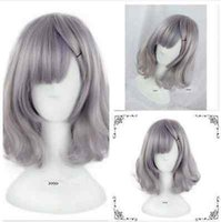 Wholesale Medium Hot Anime - HOT! Anime Cosplay Party Grey Women's Lady Lolita Short Curly Wavy Hair Costume Wigs & Free Shipping