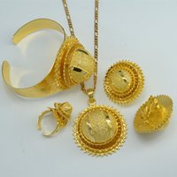 Wholesale Gold 24k Wedding Set - Ethiopian Gold set Jewelry 24k Gold Plated Pendant Chain Clip Earrings Ring Bangle Bride Wedding Africa Eritrea set Ethiopia NEW