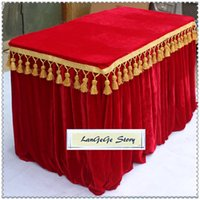 Wholesale Can Trims - Free shipping Red table skirting Gold Velvet fabric table cloths table apron with tassel trim 13ft*30in many size can choose