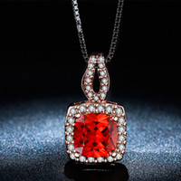Wholesale Diamond Stone Pendant - Red Stone Simulated Diamond Pendants Necklaces For Women Crystal Jewelry Collier Femme Vintage Wedding Party Accessories N009