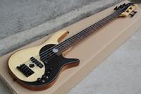 ingrosso chitarra corporea naturale-Custom Bass RARO Yin Yang Natural 5 corde Basso elettrico Ontano Corpo EMG Pickup attivi Diagramma cinese dell'universo Intarsio MOP