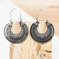 Wholesale Order Fashion Earrings China - China-Tibet Carving Pattern Moon Antique Silver Hoop Earring Woman Fashion Alloy OEM ODM Wholesale Mininum Order USD50