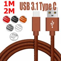 Wholesale Orange Braided Leather - 1M Leather Braided USB C 3.1 Type C Fast Charging Data Sync Charger Cable DH1700030