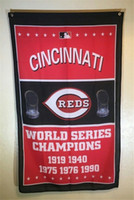 Wholesale Football World Series - Reds Outdoors World Series Champions Flag baseball fan Cheerleading Flag custom Sports & Outdoors Hockey College Football Team Flags