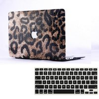 Wholesale Apple Laptop Hard Keyboard Covers - Wholesale-Leather Leopard Hard Case Cover + Keyboard Cover For Apple Macbook Air Pro 11 12 13 15 '' inch Free Shipping