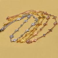 Wholesale Long Clover Necklaces Wholesale - fashion 2017 wholesale titaniumk gold plated women four leaf clover long chain charm necklace 6 pieces lot free drop shipping