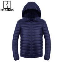 Wholesale Down Coat Men S Lightweight - Wholesale- Men's Down Jacket 2016 New Men Short Ultra-thin Lightweight Coats Solid Hooded Waterproof White Duck Down Parkas Outerwear M416