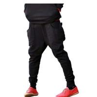 pantalones de chándal de pyrex al por mayor-Venta al por mayor-Pyrex sarouel baggy cónico bandana pantalón hip hop danza harem pantalón caen entrepierna hombres parkour deporte pista pantalón 50530005A