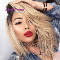Wholesale Wig Blond Short - Short Black Root Ombre Premium Natural Blond Color Hair Front Lace Wig Soft Heat Resistant Hair Lace Front Wigs for Black  White Women