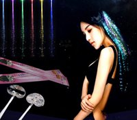 Wholesale Hair Neon - Led Luminous Braid Hair Multi Color Neon Light Novelty Toy For KTV Party Activities Flowery Clinking