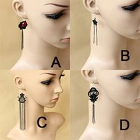 Elegant Women Lady Vintage Black Long Tassel Gothic Dangle Boucles d'oreilles Halloween Cosplay Prom Eardrop Party Boxed Gift