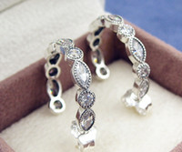 6f319b6f6 100% High-quality 925 Sterling Silver Alluring Brilliant Marquise with Clear  CZ Hoop Earrings Fits European Pandora Jewelry Ring