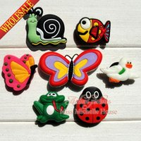 Wholesale Croc Band - Wholesale-100pcs Animal Butterfly Cartoon Shoe Charm Fit Bands Bracelets Croc,Lovely Shoe Buckles Accessories Cosplay Shoe Party Gifts