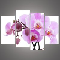 Wholesale Cheap Purple Wall Art - 4 Piece Cheap abstract Modern Wall Painting purple pink flower Home Decorative Art Picture Paint on Canvas h 114