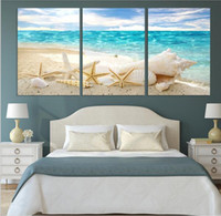 Wholesale Shell Oil Paintings Modern - 3 Pieces Of Wall Art Deco Seaview Sea Shells Modern Fashion Picture Print On Canvas Painting, Oil Paintings ,Home Decoration