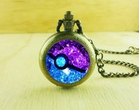 Atacado-Vintage Pokeball Clothes Necklace, Stained Glass Round Quartz Nebula Pocket watch Memento Gifts