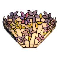 lámpara de jaula de hierro negro al por mayor-Lámparas de pared de 1 luz con estampado de flores Apliques con pantalla de vidrio de 12 pulgadas de ancho