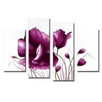 Wholesale Tulips Wall Painting - 4 Picture Combination Canvas Violet Tulip Frameless Paintings Modern Art Picture Prints Painting On Canvas For Home Wall Decor