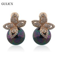 GULICX Moda Lady Black Pearl Earring Gold-color Stud Earrings White Crystal Folha Cubic Zirconia Wedding Decoration E515