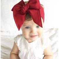 Diadème Vintage Pas Cher-Baby Girls Vintage Bow Headbands Enfants Enfants Tissu en satin DIY Hairbands Princess Headdress Big Bowknot Accessoires pour cheveux 10 Couleurs KHA522