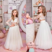 Wholesale Cheap Boutique Kids - Kingdom Boutique Two Pieces Flower Girls Dresses Cheap Cute Sheer Crew Neck Long Sleeves Lace Bodice Lovely Kids Formal Wear Long