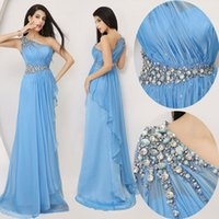 Wholesale One Shoulder Sequin Evening Dresses - 2016 New Arrival Sexy Long Blue Pleats Prom Party Dresses One Shoulder Side Slit Sequin Beaded Evening Gowns Ball Gowns A-Line