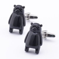 Wholesale High Quality Bear Suits - Free shipping High Quality Russia New Arrival Brass Gemelos Mens Animal Black Bear Suit Shirts Funny Cufflinks 960045