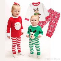 Wholesale Kids Christmas Pyjamas Wholesale - Christmas pajamas sets 2pcs Santa Sleeping clothing Boys Girls Christmas Santa Pajamas Set striped Pyjamas Kids Spring Autumn Free DHL