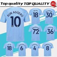 Wholesale Uniform City - City home blue Soccer Jersey 17 18 #10 KUN AGUERO blue Soccer Shirt 2018 Customized # 17 DE BRUYNE 33 G.JESUS football uniform size S-4XL