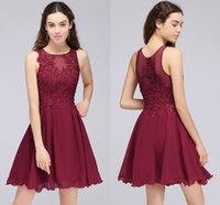 Wholesale Homecoming Dresses For Young Girls - Burgundy Lace Beaded A Line Chiffon Short Homecoming Dresses Cocktail Party Dresses For Young Girls Jewel Neck Cheap Graduation Gowns CPS707