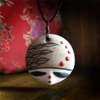 Wholesale Red Head Beauty - Fashion Pendant Necklace For Women Jewelry Beauty Round Shape Red White Blue Ceramics Pendants Head Manual DIY Necklaces Torque