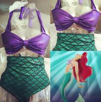Wholesale Two Piece Halloween Costumes Women - Halloween Women Mermaid Tail Costume Adult Princess Ariel Swimming Swimwear Bikini Soft Two Pieces Beach Fashion Dress A8567