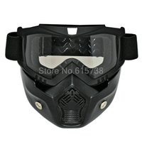 Wholesale Open Mask - NEW Motocross Goggles with Detachable Mask Mouth Filter goggle For Half Helmet Open Face Vintage Motorcycle goggle