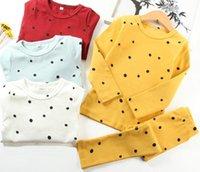 Wholesale Wholesale Polka Dot Pajamas - Sweet Polka Pajamas Set Little Girl Sleepwear Long Sleeves 5 Color Selection Can Accept Choose Size