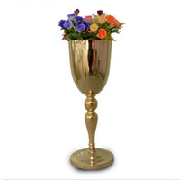 Wholesale 2016 New arrive golden plated metal vase wedding centerpiece event flower rack for home decor hotel supplies
