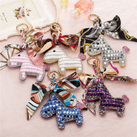 Wholesale Scarf Pendants Chain - 20pcs Fashion Cute Women's Bag&Car Pendant High-end Handmade Scarf Leather Handbag Key Chains Tassel Rodeo Crystal Horse Bag Charm F692