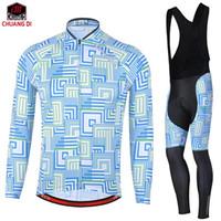 camisas de ciclismo orica venda por atacado-CHUANGDI inverno ciclismo desgaste terno mais quente-manter manga comprida Orica bicicleta jersey térmica bicicleta jaqueta bibs calças conjunto