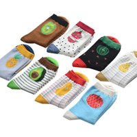 Wholesale Pineapple Patterns - Wholesale-Brand fashion creative fruits patterns tide cotton socks for women cute apple watermelon pineapple stripes socks