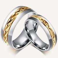 Wholesale Golden Rhombus - Internal golden Black ring with rhombus section design,buy cheap couple ring from best couple ring wholesalers