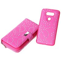 Wholesale Optimus Cover - For LG Optimus G5 2 in 1 Multi-functional Glitter Flower Zipper Wallet Leather Case Purse With TPU + Leather Back Magnetic Detachable Cover