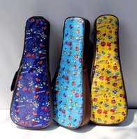 Wholesale Good quality cartoon inch soprano concert tenor ukulele bag package case soft gig padded blue yellow pattern creative gifts kid