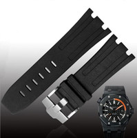 ingrosso perni gialli-JAWODER Watchband Man 28mm Nero Rosso Arancione Blu Grigio Verde Giallo Gomma siliconata cinturino per orologio cinturino con fibbia per ROYAL OAK