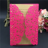 Wholesale Embossed Fold Card - 2016 Printable Laser Cut Pink Wedding Invitation Thanksgiving Card with Embossed Flower with Envelope & Seal Free Shipping