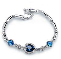 brazaletes del océano al por mayor-Pulseras para las mujeres de moda océano azul astilla plateado cristal Rhinestone del encanto del corazón pulsera brazalete de regalo de la joyería pulseras del encanto