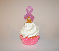 Wholesale Breast Shower - cheap Glitter Breast Cancer Awareness Cupcake Toppers birthday party Wedding Bridal Shower Engagement Hens Night Party food picks 30pcs
